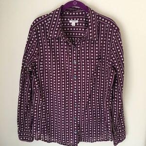 Caslon Purple Polka Dot Button Down Cotton Shirt